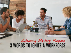 Autonomy, Mastery, Purpose: 3 Words to ignite a workplace
